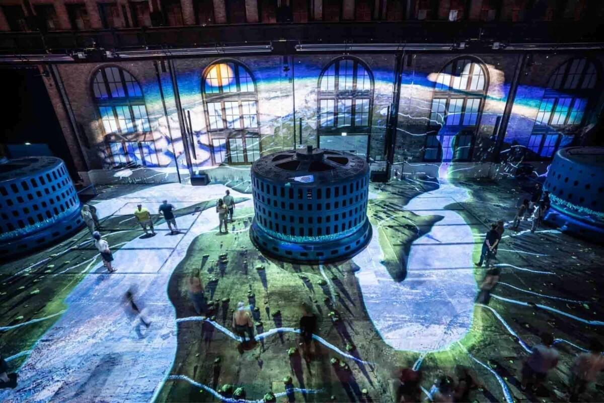 Niagara Falls light projections on floor