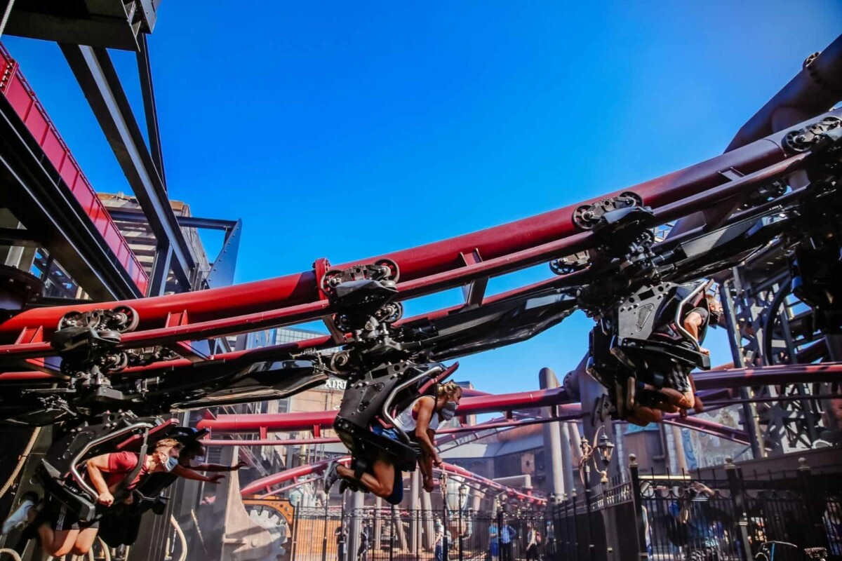 vekoma roller coaster people riding up